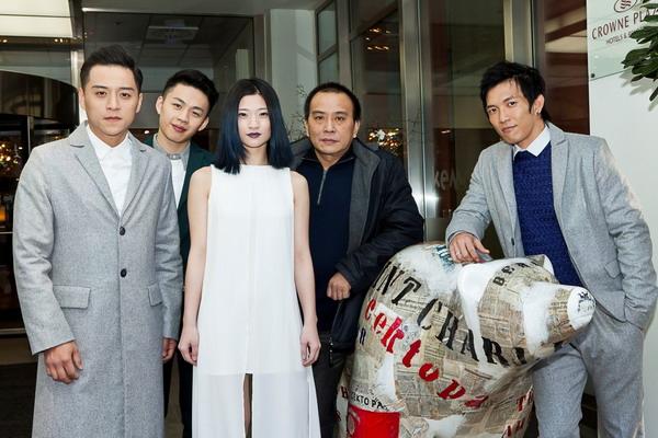 《醉‧生夢死》演員身穿DAMUR贊助服裝參加柏林影展(左起:鄭人碩、李鴻其、王靖婷、導演張作驥、黃尚禾)