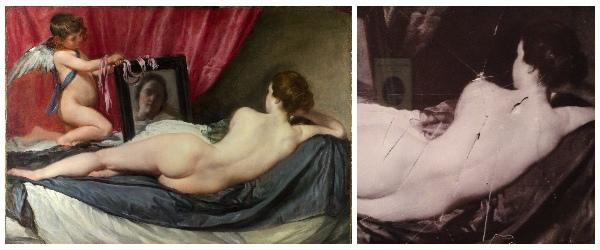 【維納斯對鏡梳妝】﹝The Toilette of Venus﹞,一百年前曾遭英國女權運動者瑪麗理查森(Mary Richardson)以尖刀「謀殺」,留下了7道深深的劃痕