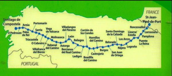 聖雅各古道 路線圖