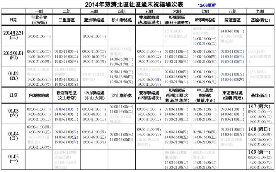 2014年歲末祝福場次表1