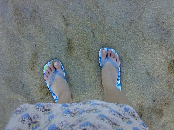 夾腳拖和沙灘