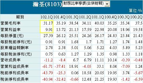 20130731瀚荃財務比率