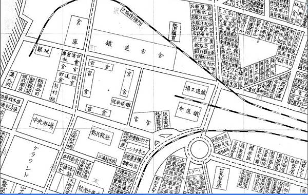 1935年台灣博覽會紀念台北市市街圖,台北便利屋為三井倉庫所在(圖片來源:搶救北北三).bmp