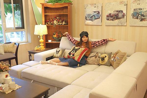 L型沙發含收納大腳凳、小腳凳