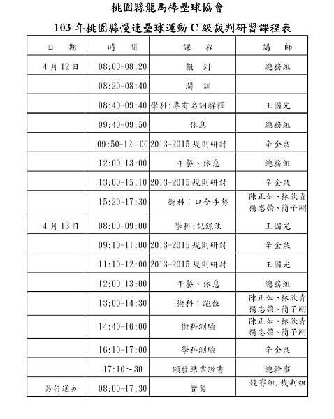 龍馬慢壘C級裁判研習課程表