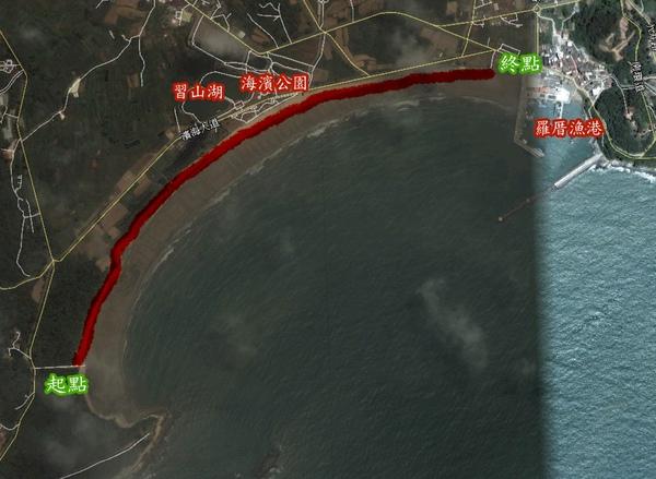 東崗沙岸位置圖