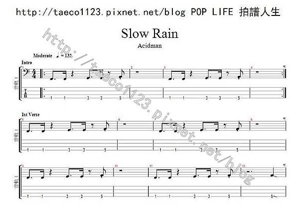 Acidman-スロウレイン BASS譜(GP)