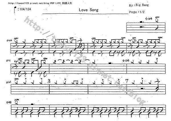 Big Bang-Love Song 鼓譜