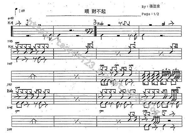 張芸京-喂對不起 鼓譜