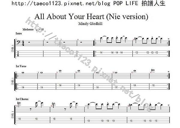 Mindy Gledhill-All About Your Heart  BASS譜(GP)