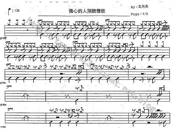 五月天-傷心的人別聽慢歌(貫徹快樂) 鼓譜