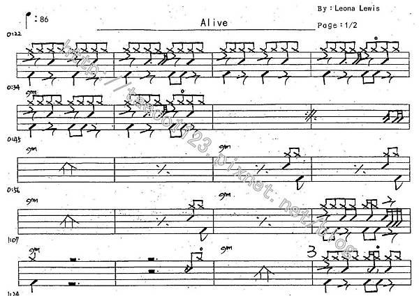 Leona Lewis-Alive 鼓譜