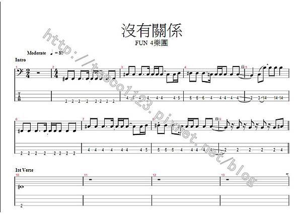 Fun 4-沒有關係 BASS譜(GP)