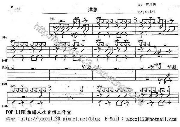 五月天-洋蔥 鼓譜