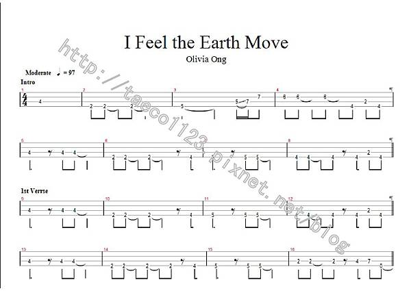 Olivia Ong-I Feel the Earth Move BASS譜(GP)