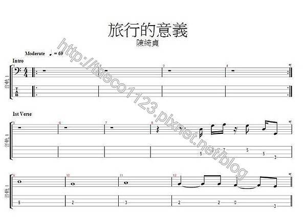 陳綺貞-旅行的意義 BASS譜(GP)