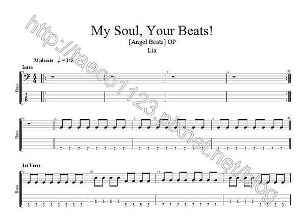 Lia-My soul, Your Beats! BASS譜(GP)