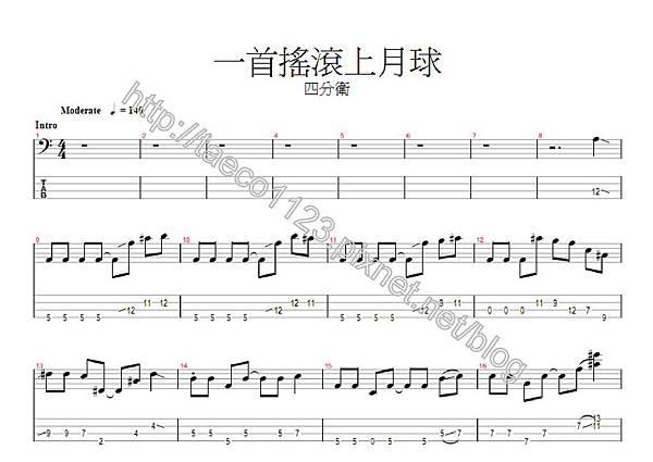 四分衛-一首搖滾上月球 BASS譜(GP)