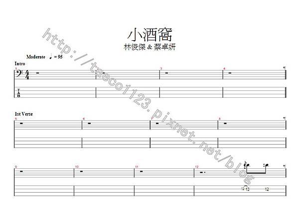 林俊傑-小酒窩 BASS譜(GP)