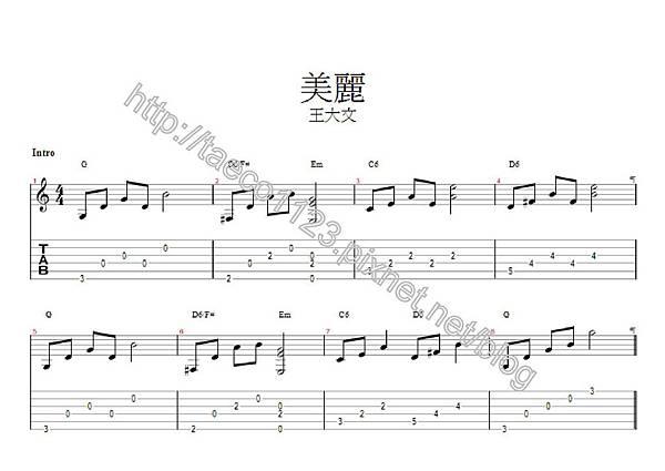 王大文-美麗 吉他譜(GP)
