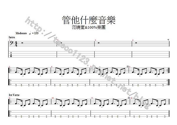 范曉萱&100%樂團-管他什麼音樂 BASS譜(GP)