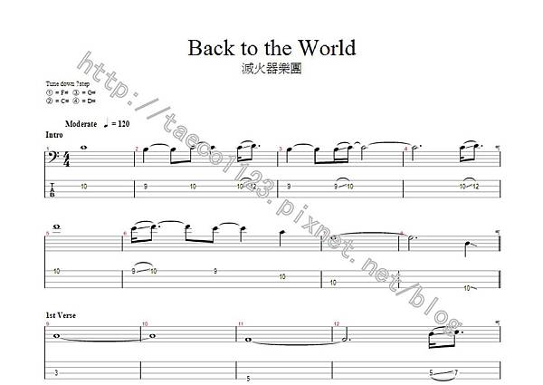 滅火器樂團-Back To The World BASS譜(GP)