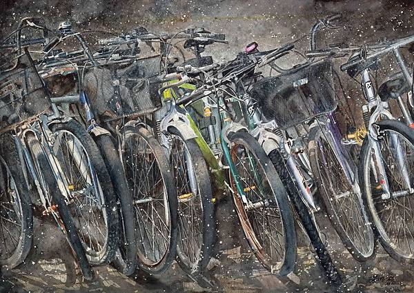 第46期-腳踏車歲月 114x77cm_水彩 2003 張明祺.jpg