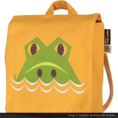 kids-backpack-orange-mibo-crocodile-organic-cotton