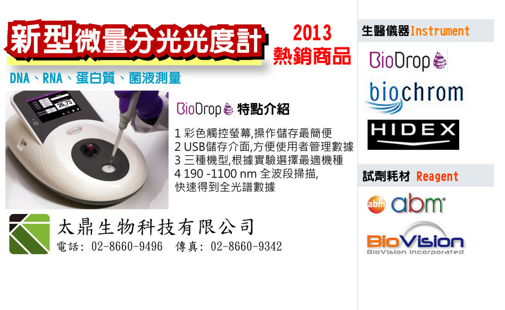 BLOG BioDrop微量分光光譜儀