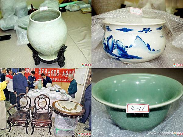 清朝白地藍爐、日治時期紫檀圓桌、清朝石角虎頭瓶、清朝鐘碗