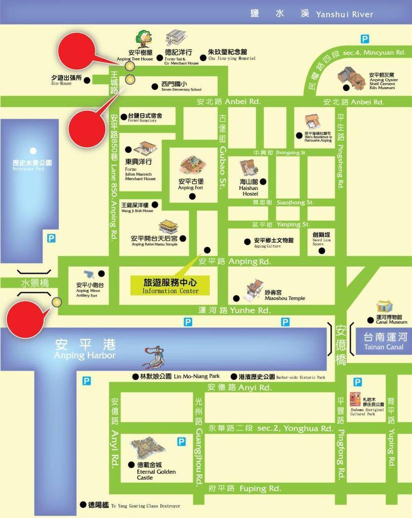 台南T-bike租借站點地圖。