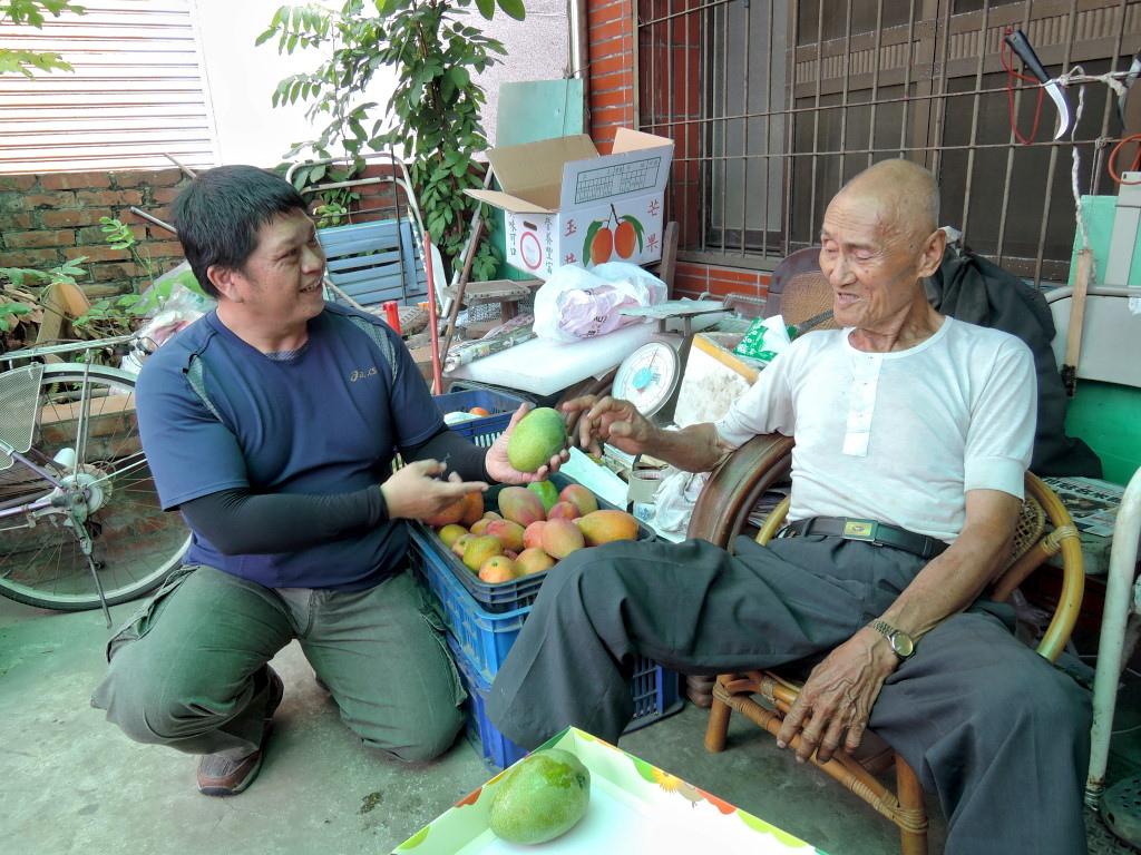 椪鼠伯與新農人許富堡交流芒果經。