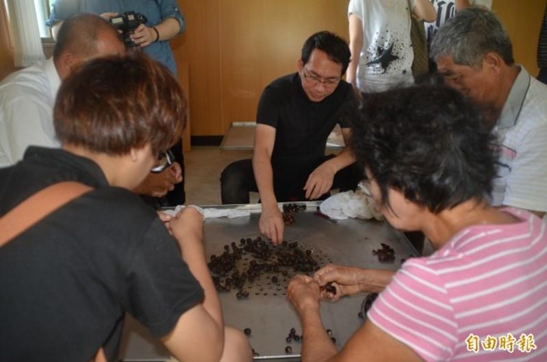 世界麵包大賽冠軍吳寶春(中著黑衣),今天特地到台南東山體驗烘焙和剝龍眼乾肉。