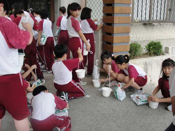 麗山國小學生進行植物的栽種