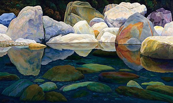 似鏡靜溪的山石