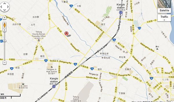 悅來民宿地圖(民生路197號-201號地圖中A為悅來民宿所在位置)