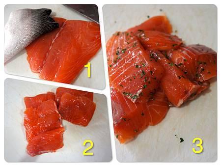 香煎鮭魚佐橘汁優格醬汁 1