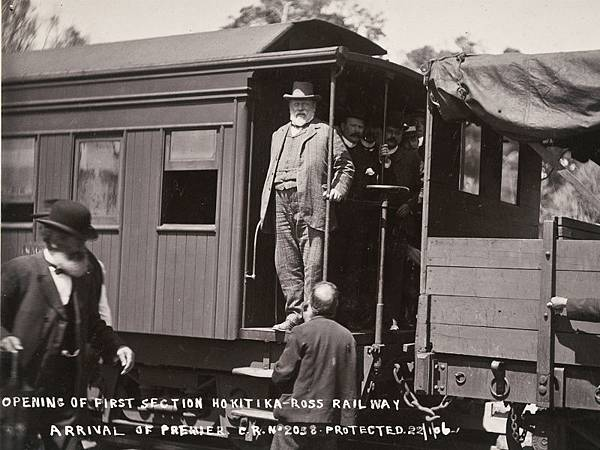 Premier-Seddon-arriving-at-the-opening-of-the-first-section-of-the-Hokitika-Ross-railway-West-Coast-ca-22-Jan-1906