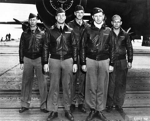 1st Lt Travis hoover 2nd from left deck of USS Hornet April 1942