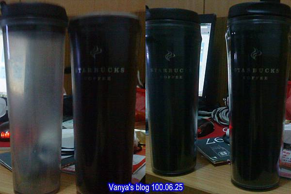 新舊星巴克特大黑色隨行杯,還是喜歡低調,所以買相同的!