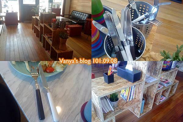 高雄The cafe'-組合櫃上的餐具、餐巾、茶杯等