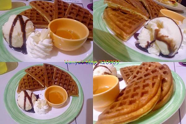 高雄The cafe'-蜂蜜香草冰淇淋鬆餅,四連拍