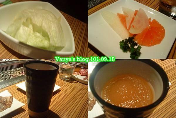 高雄原燒中華店-生菜、水果片和冰砂