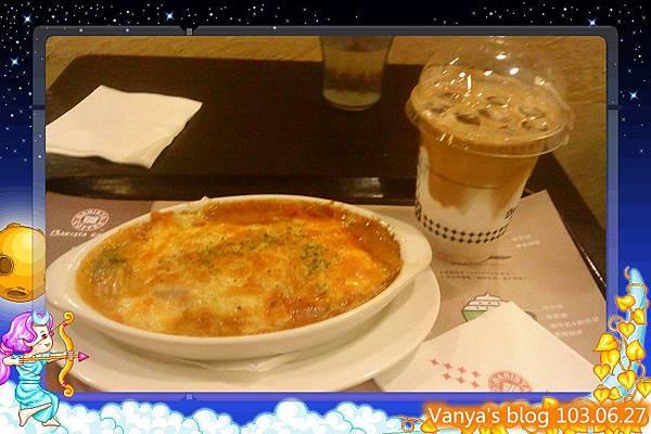 西雅圖咖啡漢神店-午餐蕃茄千層肉醬麵及貝瑞斯塔咖啡