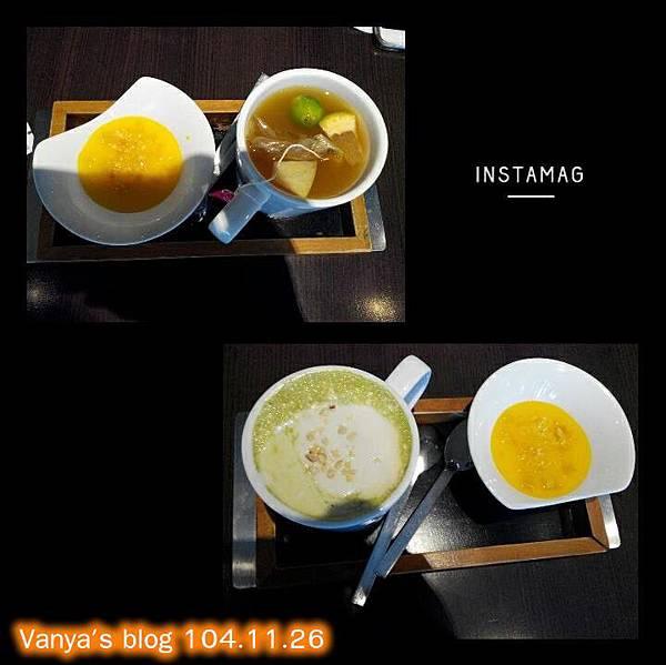 品田中山店-甜點,柑橘奶酪及熱水果茶、黑豆奶蓋抺茶