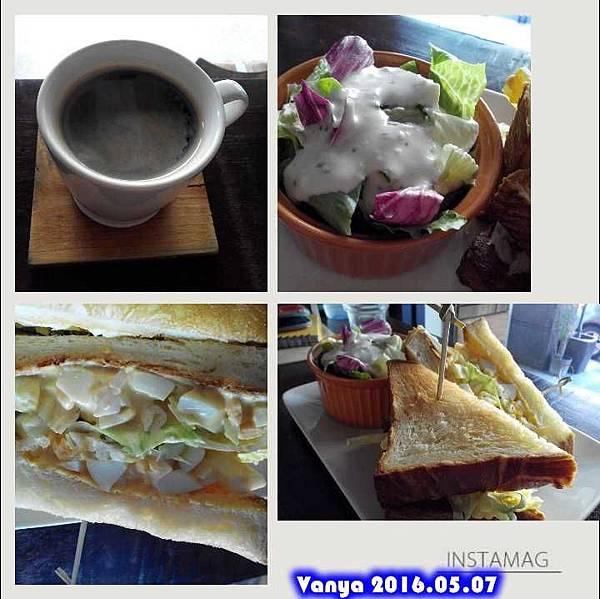 睦工場-丹麥蛋三明治、沙拉和美式咖啡