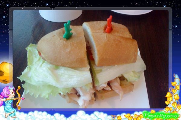 991209 小雞請的下午茶-法國麵包燻雞三明治