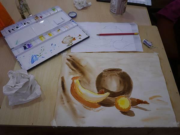 [透明水彩課-3] 黃與咖啡色的大手筆沾水揮