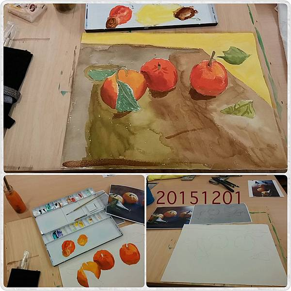 [透明水彩課-8] 水果們-複合技法示範