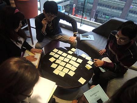 賈伯斯簡報文案加分課簡報大綱的學員分組實作演練